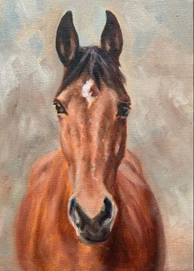 painting of bay horse