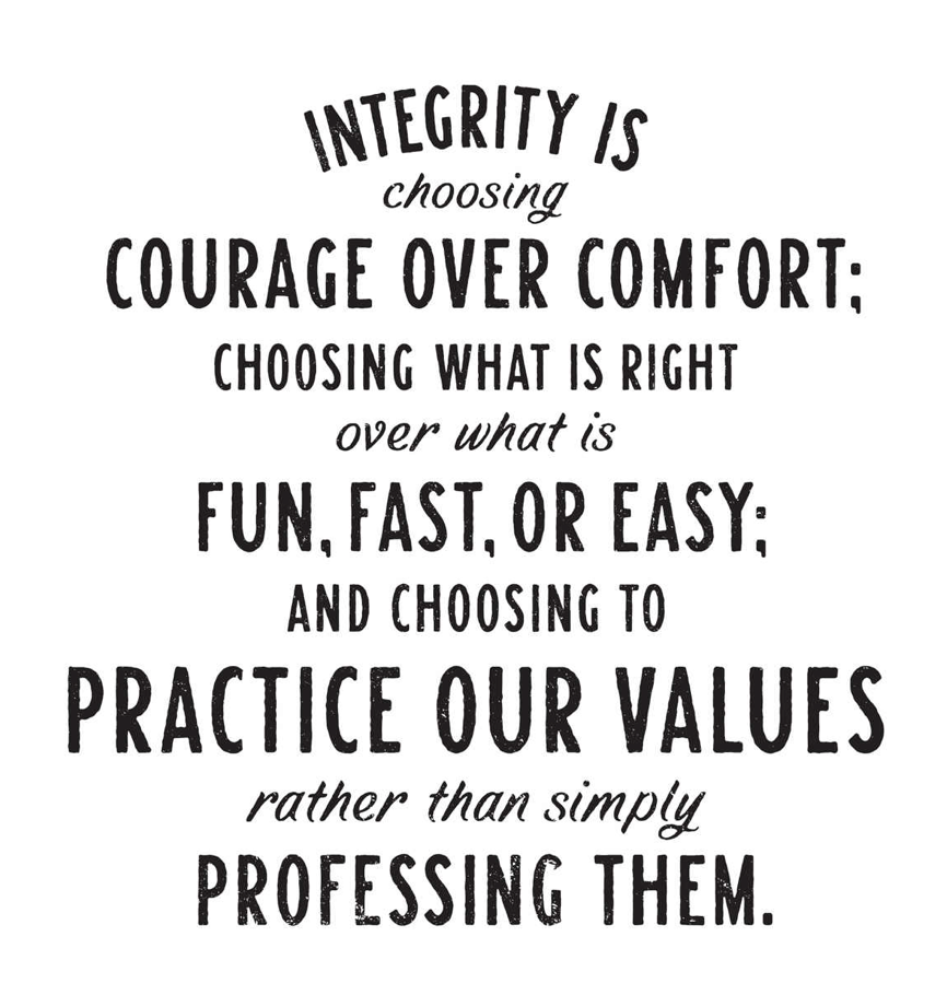 text block reads integrity is choosing courage over comfort: choosing what is right over what it fun fast or easy and choosing to practice our values rather than simply professing them.